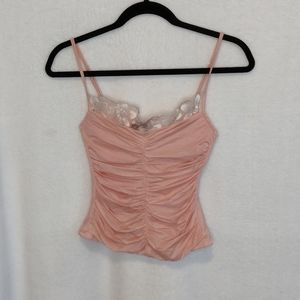 Dusty Pink Corset Top with Lace Neckline and Bow